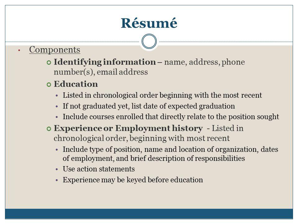 resume action statements