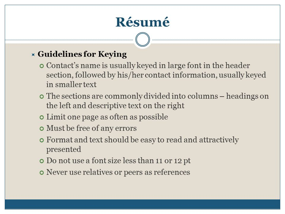 5 Résumé Guidelines For Keying  Resume Guidelines