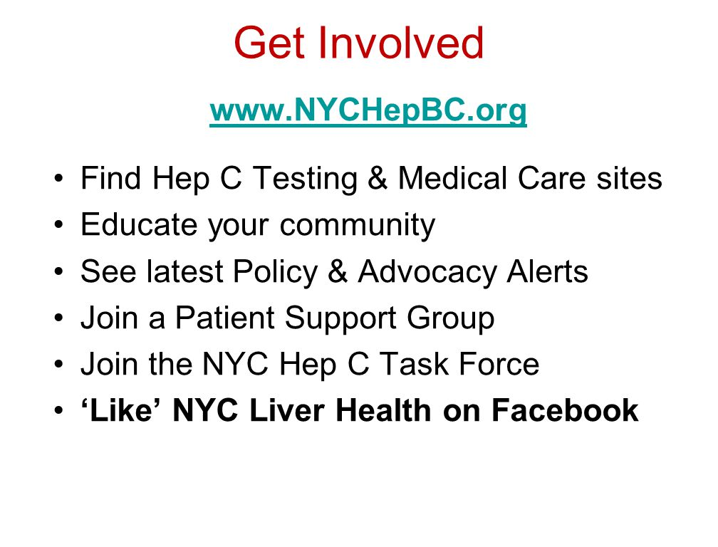 Get Involved   Find Hep C Testing & Medical Care sites