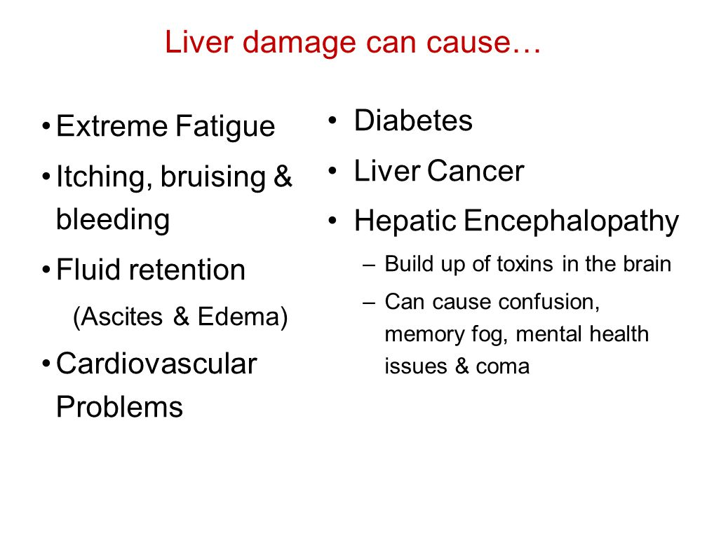 Liver damage can cause…