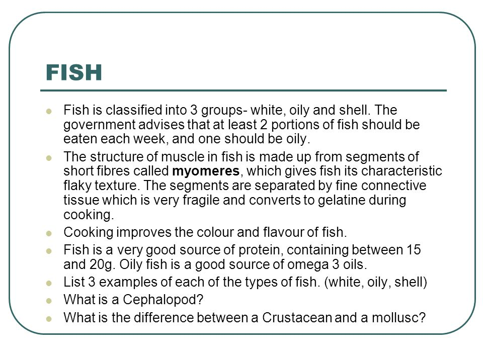 Properties of food food commodities ppt download for Oily fish list