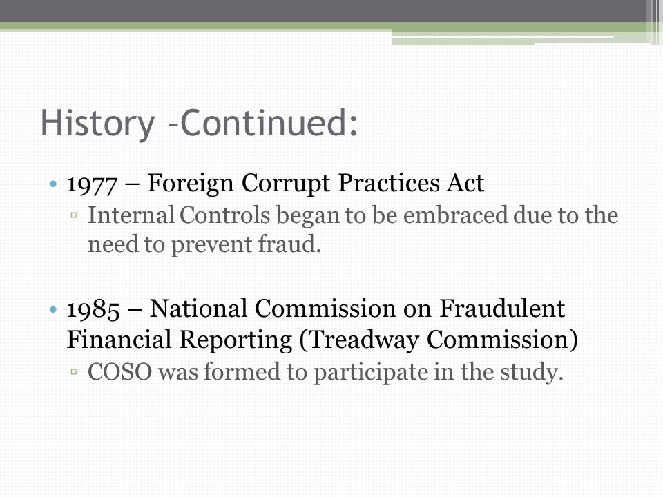 foreign corrupt practices act of 1977 History of the foreign corrupt practices act the fcpa was the first effort of any nation to specifically criminalize the act of bribing foreign officials.