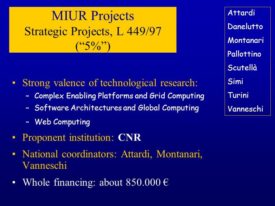 MIUR Projects Strategic Projects, L 449/97 ( 5% )