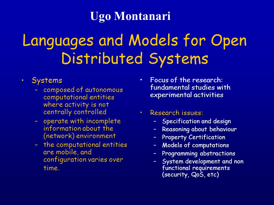 Languages and Models for Open Distributed Systems