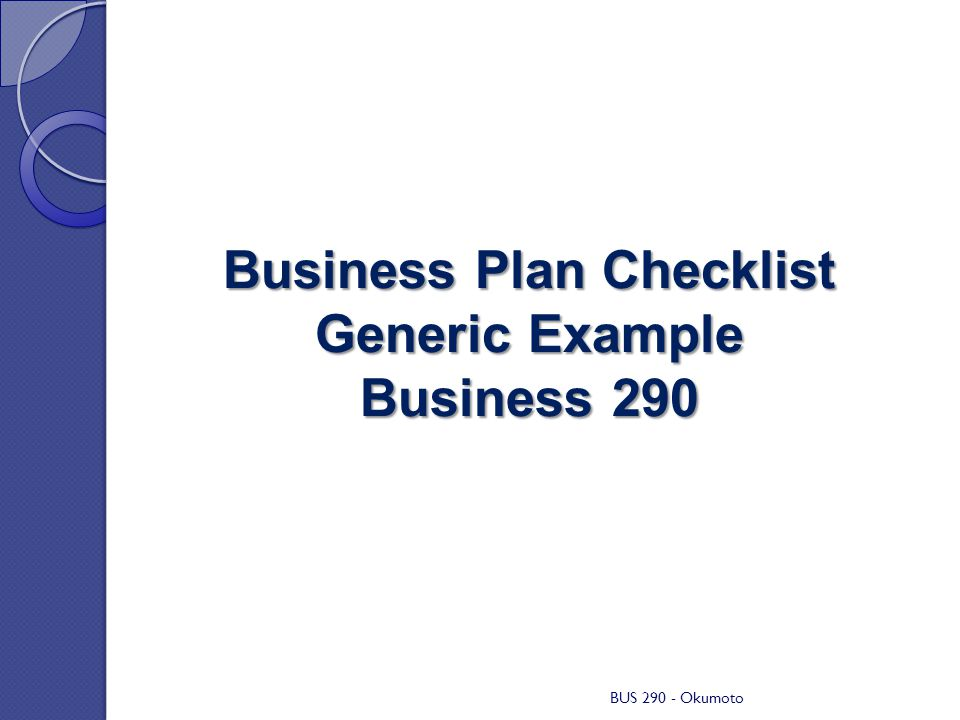 Business Plan Checklist Generic Example Business 290