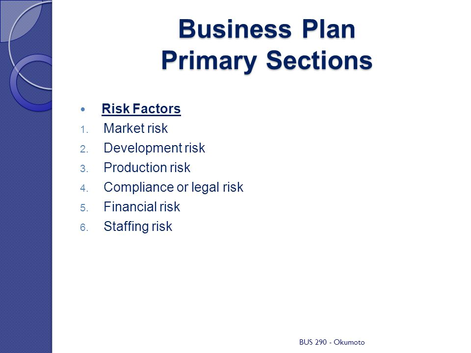 business plan critical risks