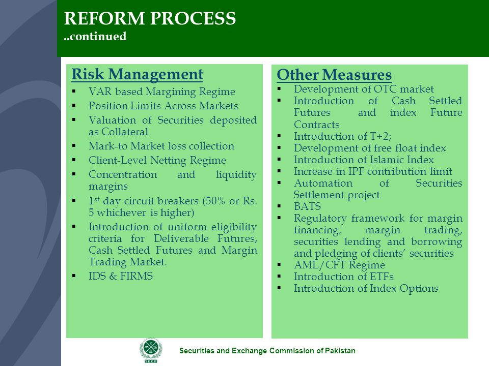 REFORM PROCESS Risk Management Other Measures ..continued