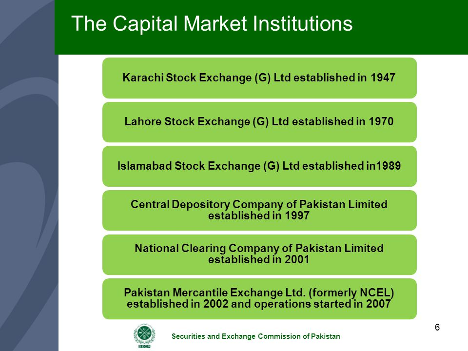 The Capital Market Institutions
