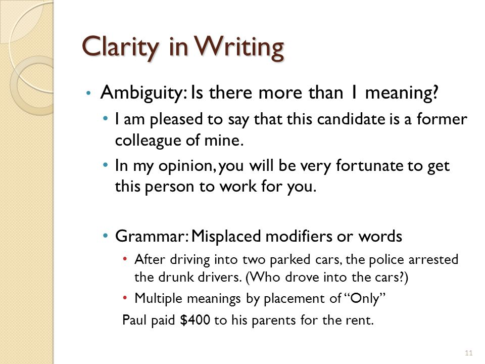 vagueness ambiguity and clarity in writing Read this essay on vagueness, ambiguity, and clarity in writing come browse our large digital warehouse of free sample essays get the knowledge you need in order to pass your classes and more only at termpaperwarehousecom.
