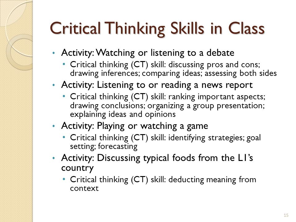 critical thinking in the classroom ppt Use these tips to encourage your child's critical thinking skills.
