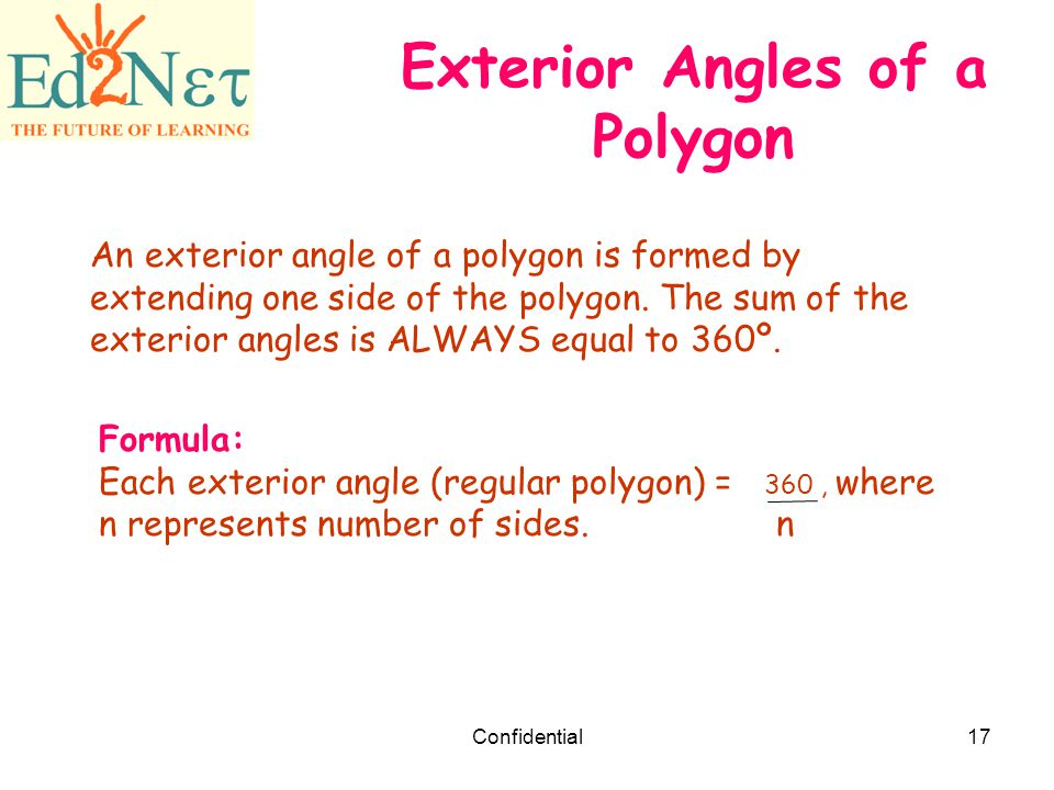 Our lesson polygons confidential ppt download for Exterior angles of a polygon formula
