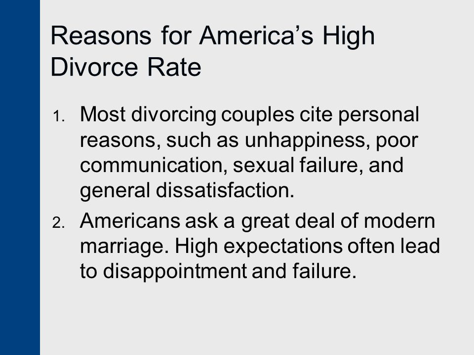 Reasons for America's High Divorce Rate