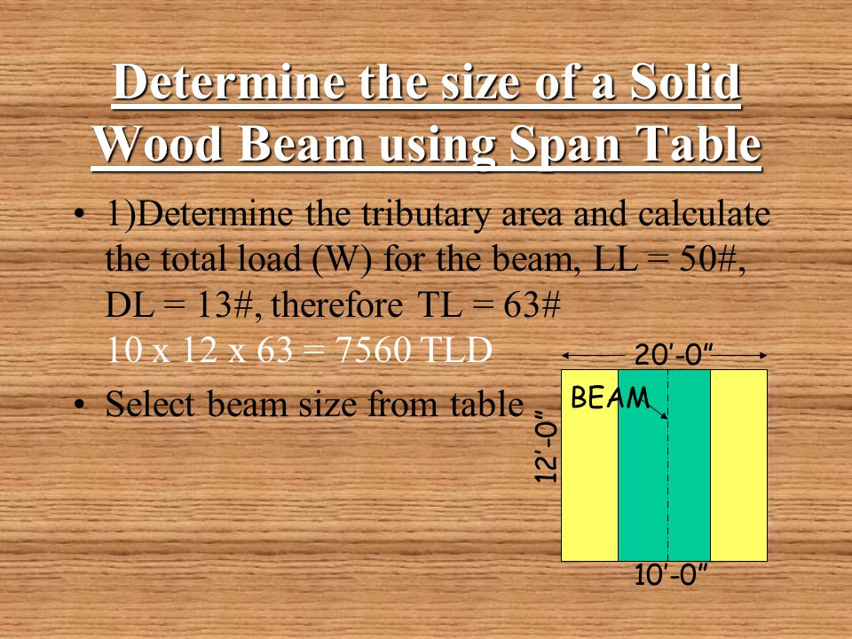 Determine the size of a Solid Wood Beam using Span Table. Beam Design    ppt video online download