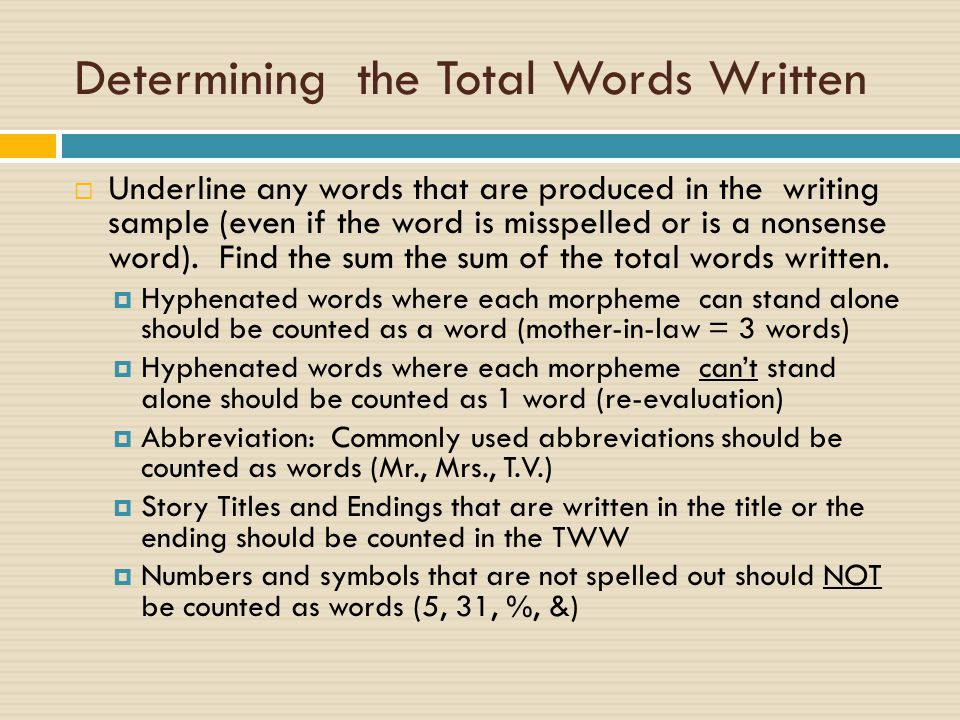 Determining the Total Words Written