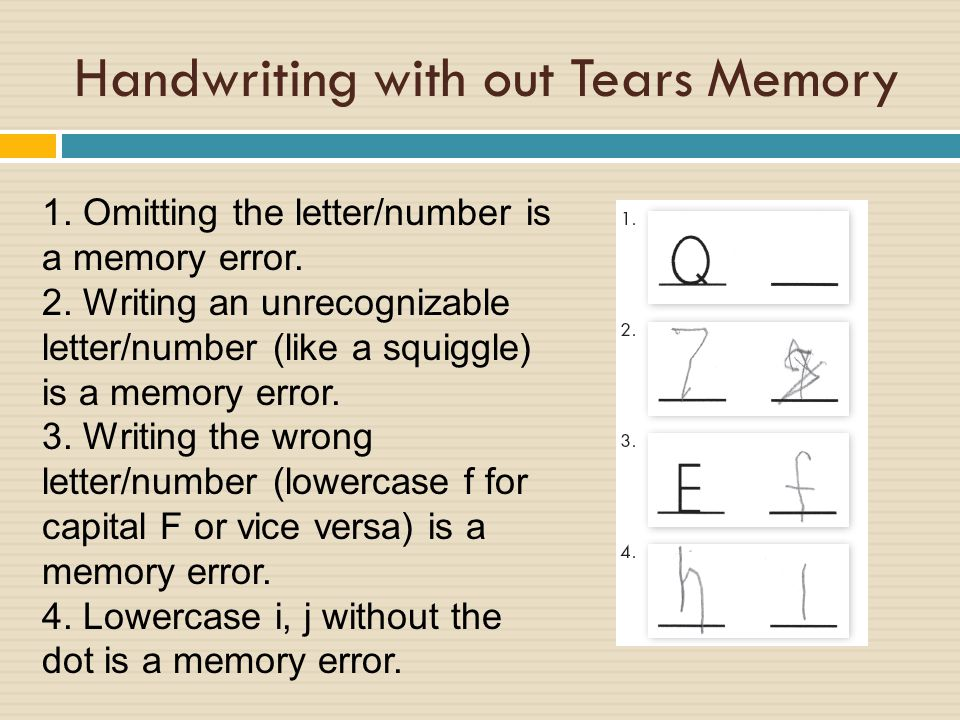 Handwriting with out Tears Memory