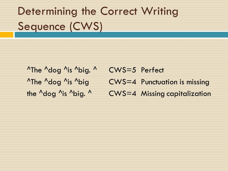 Determining the Correct Writing Sequence (CWS)