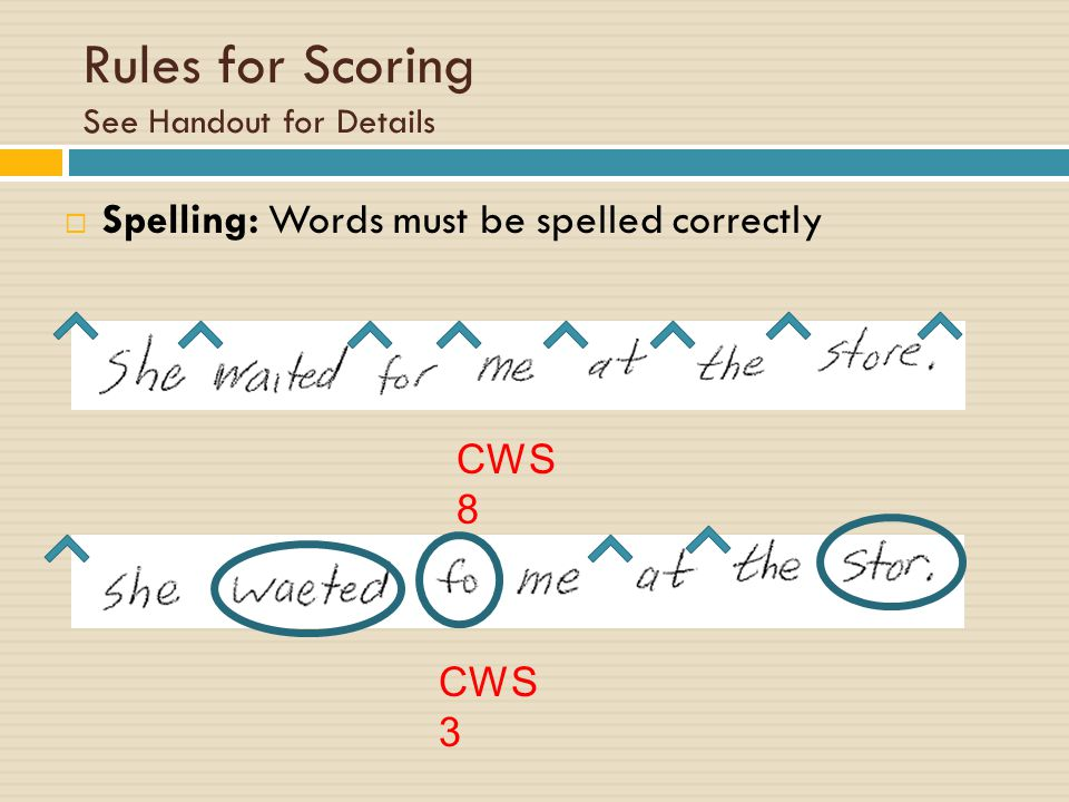 Rules for Scoring See Handout for Details