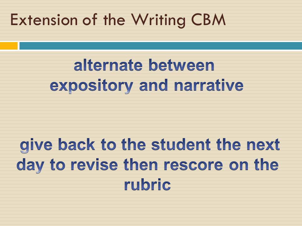 Extension of the Writing CBM