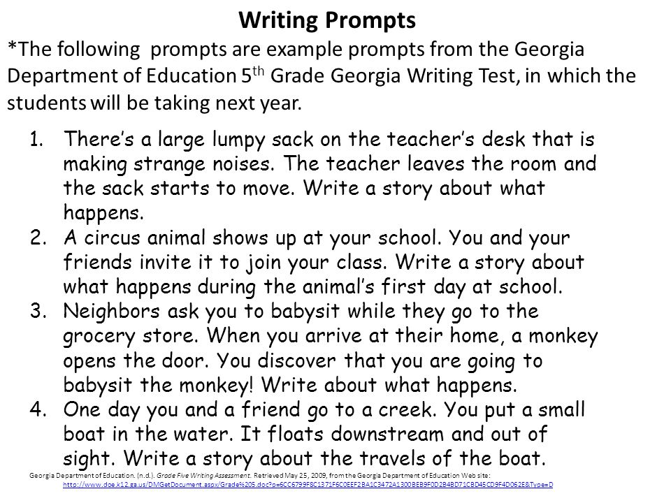 informative essay prompts 5th grade Instruct fifth-grade students to write based on informative topics the purpose of informative writing is to inform a reader on a specific topic students become more informed on the topic as well as they complete research, interviews and observations.