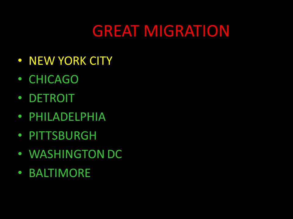 GREAT MIGRATION NEW YORK CITY CHICAGO DETROIT PHILADELPHIA PITTSBURGH