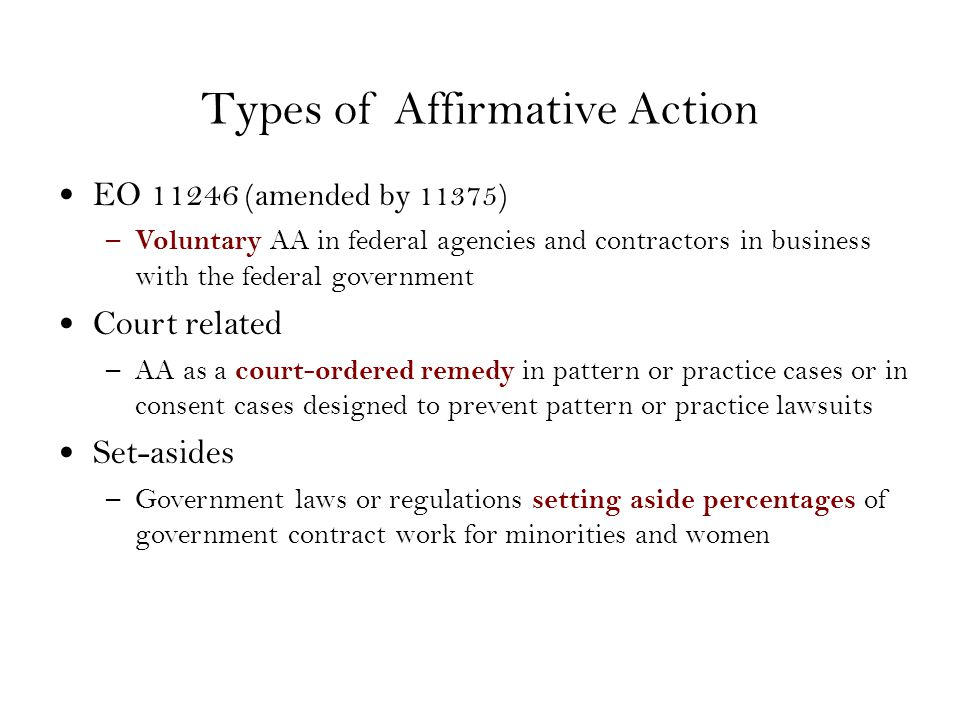 essay questions on affirmative action The affirmative action time line goes on and on, however, affirmative action does not fix past racial issues, it leaves issues unfixed causing a present effect on past discrimination the question asked today is, is affirmative action still necessary today in the united states of america.