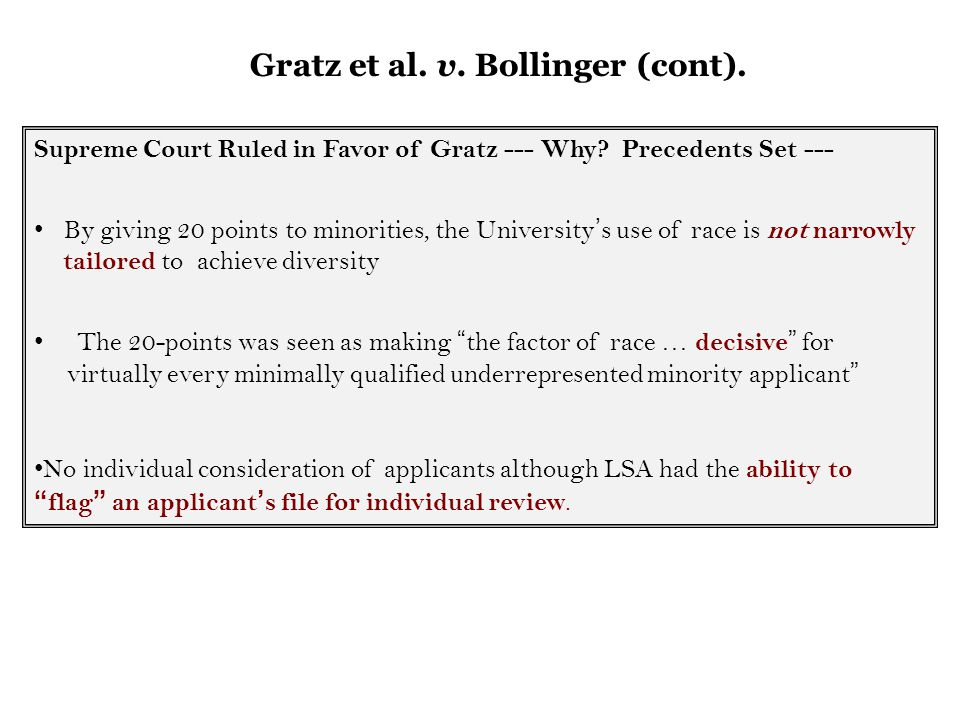 gratz vs bollinger essay Policy papers you are here: bollinger: joint statement of constitutional law scholars in a 6-to-3 decision in gratz v bollinger.