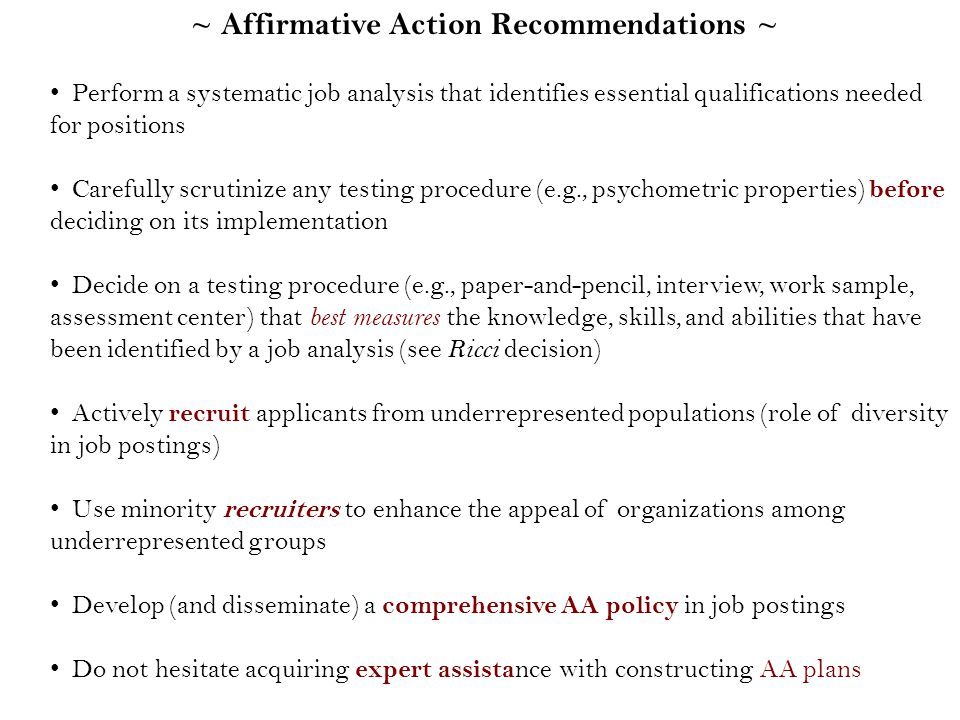 """affirmitive action position paper """"affirmative action"""" means positive steps 312),the right of the maximally competent to an open position (goldman 1975, affirmative discrimination."""