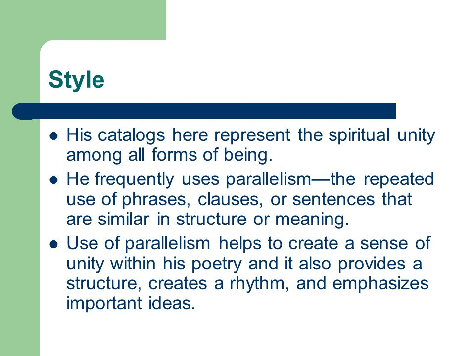 Style His catalogs here represent the spiritual unity among all forms of being.