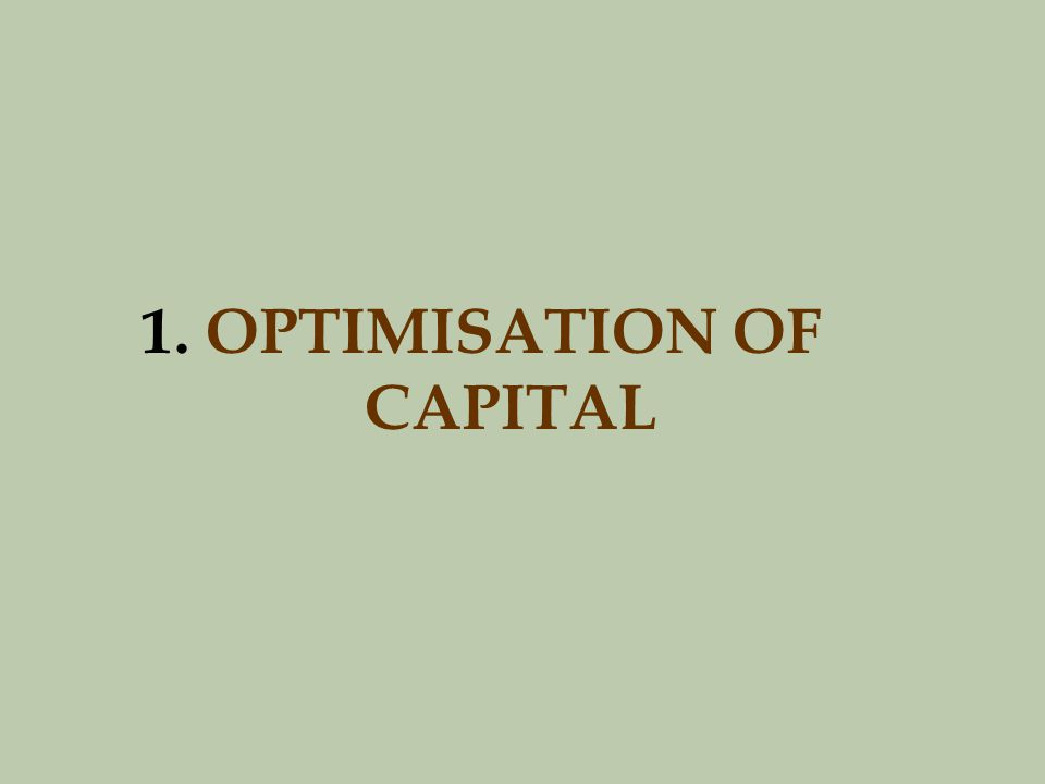 1. OPTIMISATION OF CAPITAL