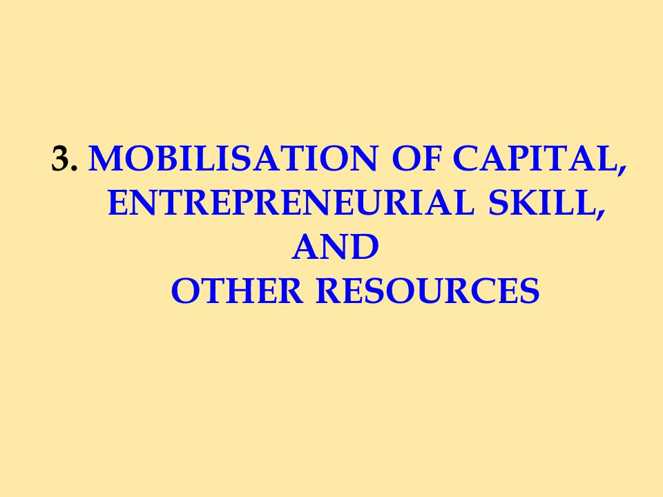 3. MOBILISATION OF CAPITAL, ENTREPRENEURIAL SKILL, AND OTHER RESOURCES