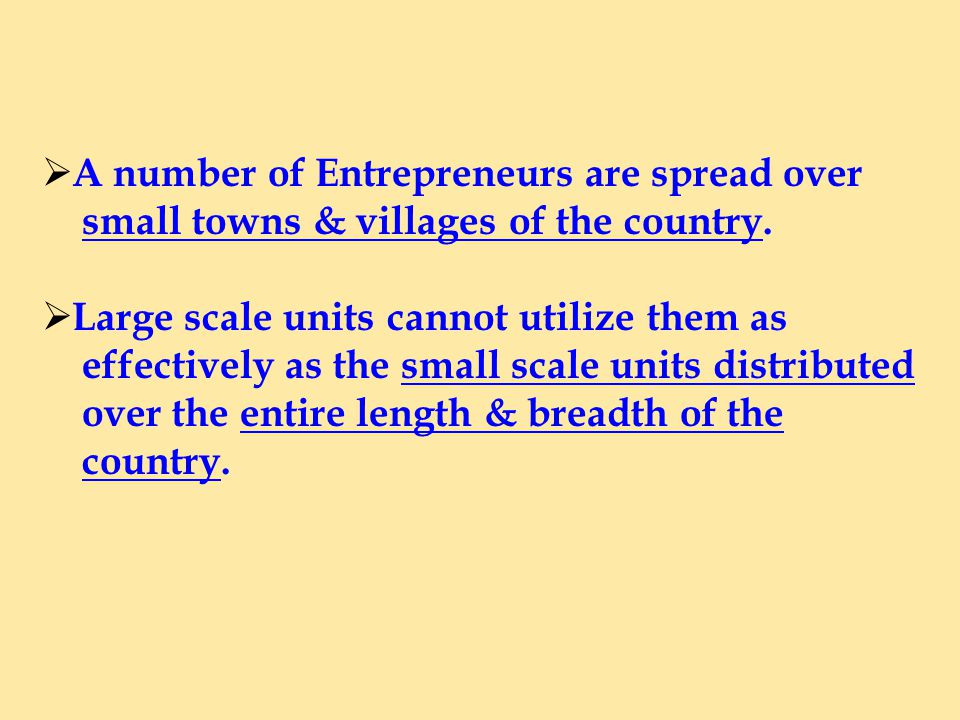 A number of Entrepreneurs are spread over small towns & villages of the country.