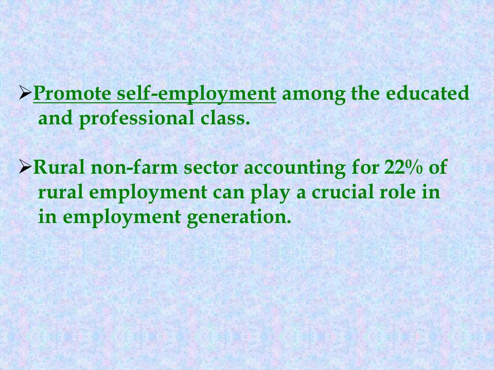 Promote self-employment among the educated and professional class.