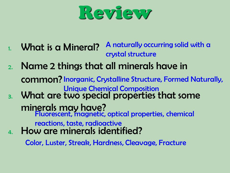 Review What is a Mineral