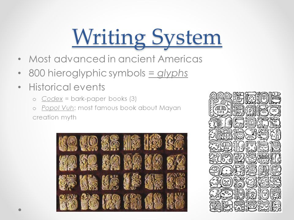 Writing System Most advanced in ancient Americas
