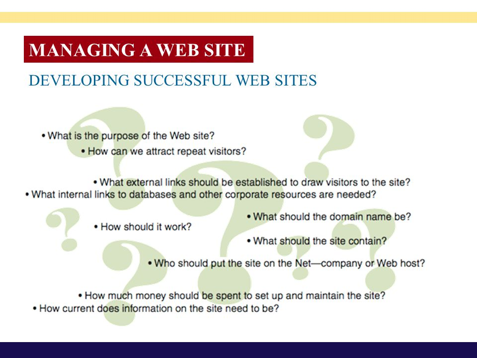 MANAGING A WEB SITE DEVELOPING SUCCESSFUL WEB SITES