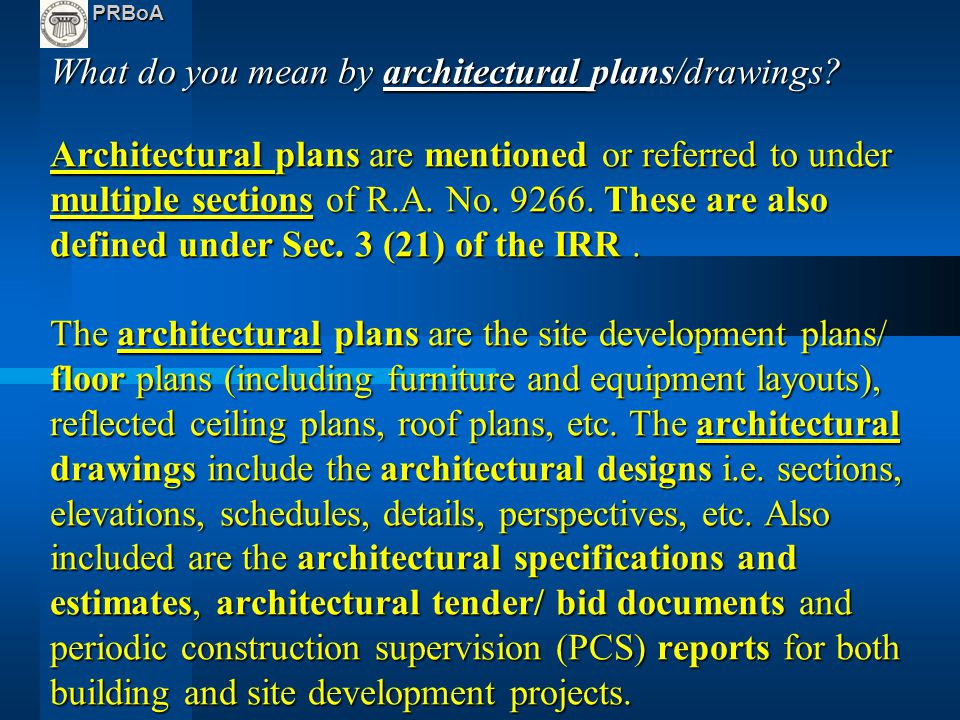 What are the main architectural plans documents ppt for What does architecture mean