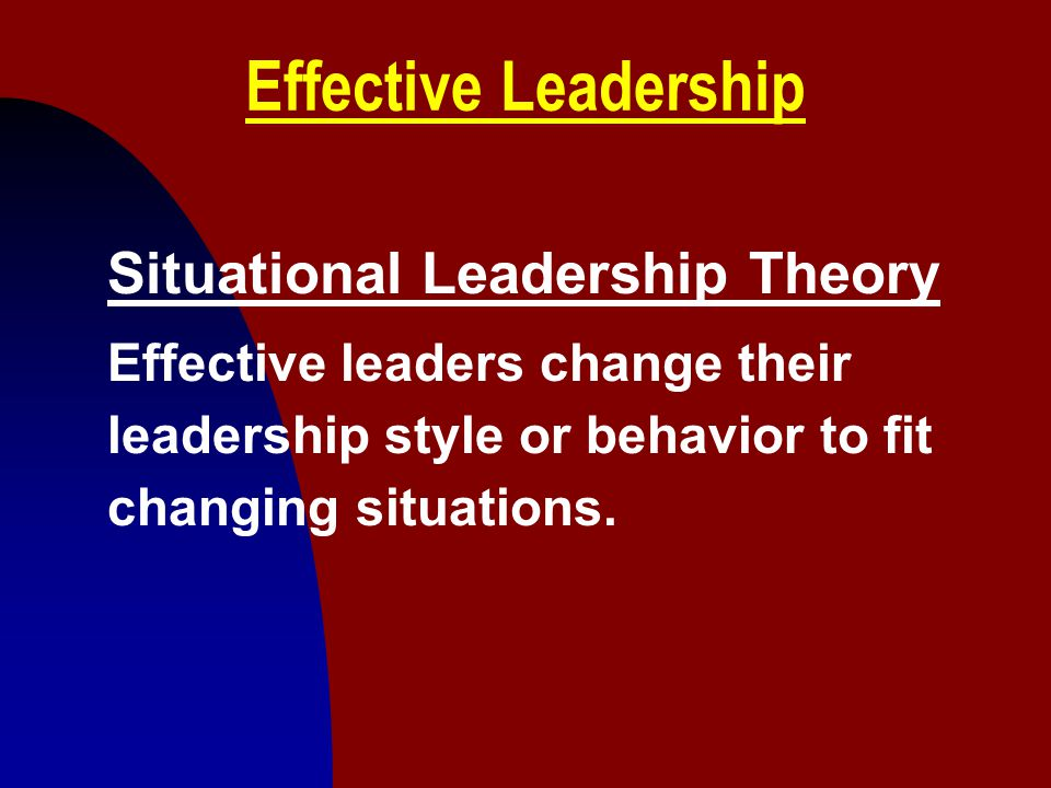 Effective Leadership Situational Leadership Theory