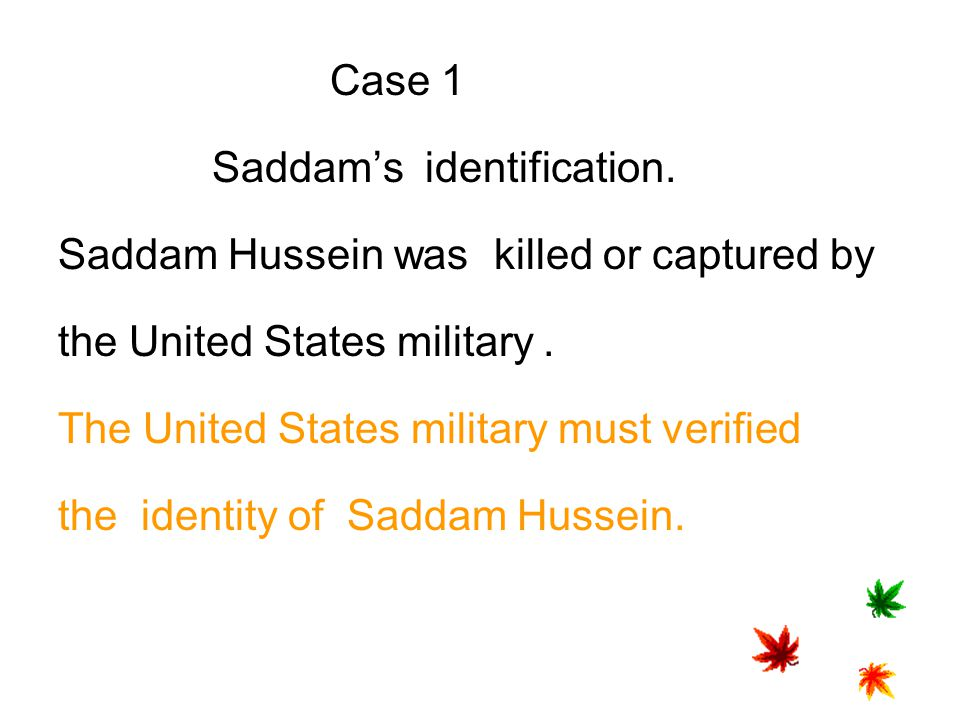 Case 1 Saddam's identification. Saddam Hussein was killed or captured by. the United States military .