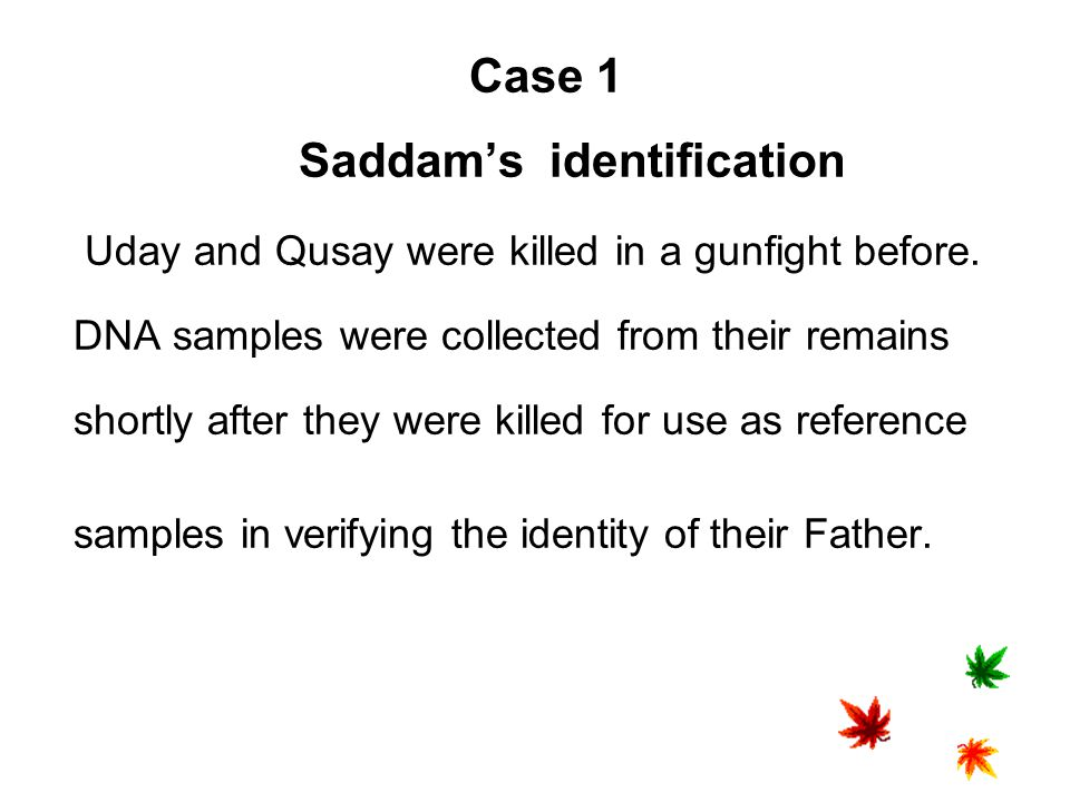 Case 1 Saddam's identification