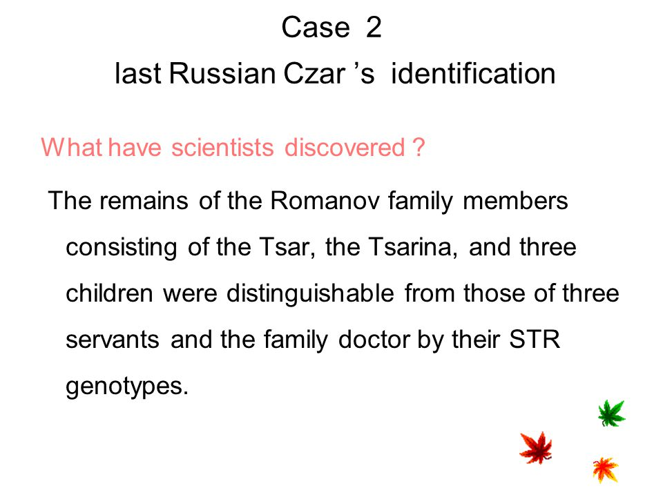 Case 2 last Russian Czar 's identification