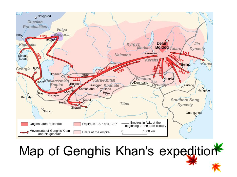 Map of Genghis Khan s expedition