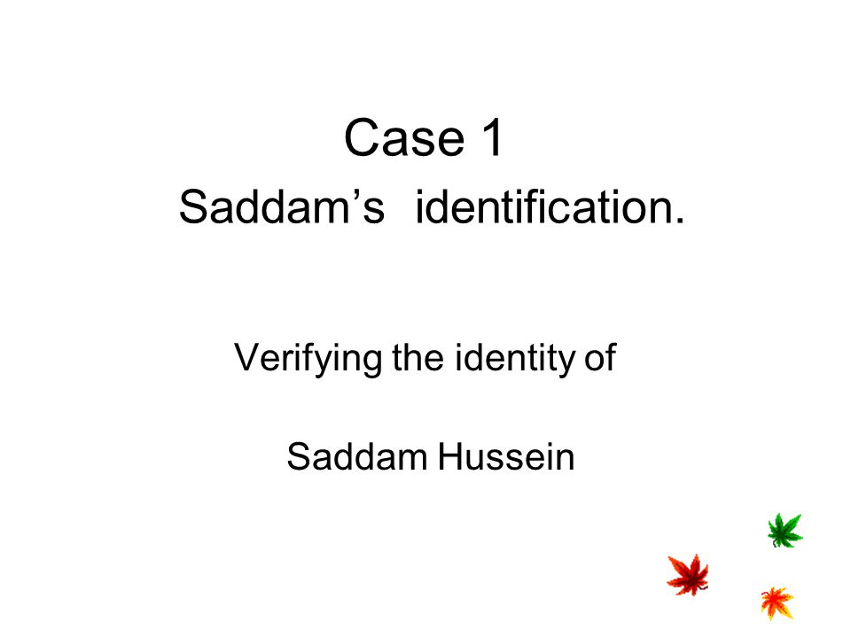 Case 1 Saddam's identification.