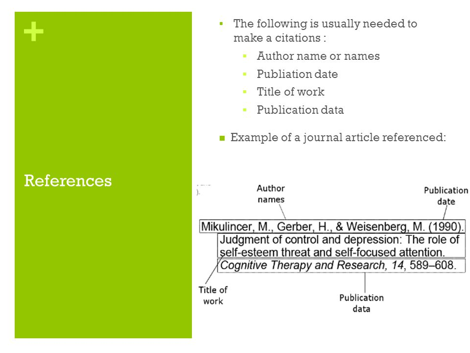References The following is usually needed to make a citations :