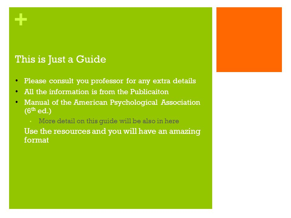 This is Just a Guide Please consult you professor for any extra details. All the information is from the Publicaiton.