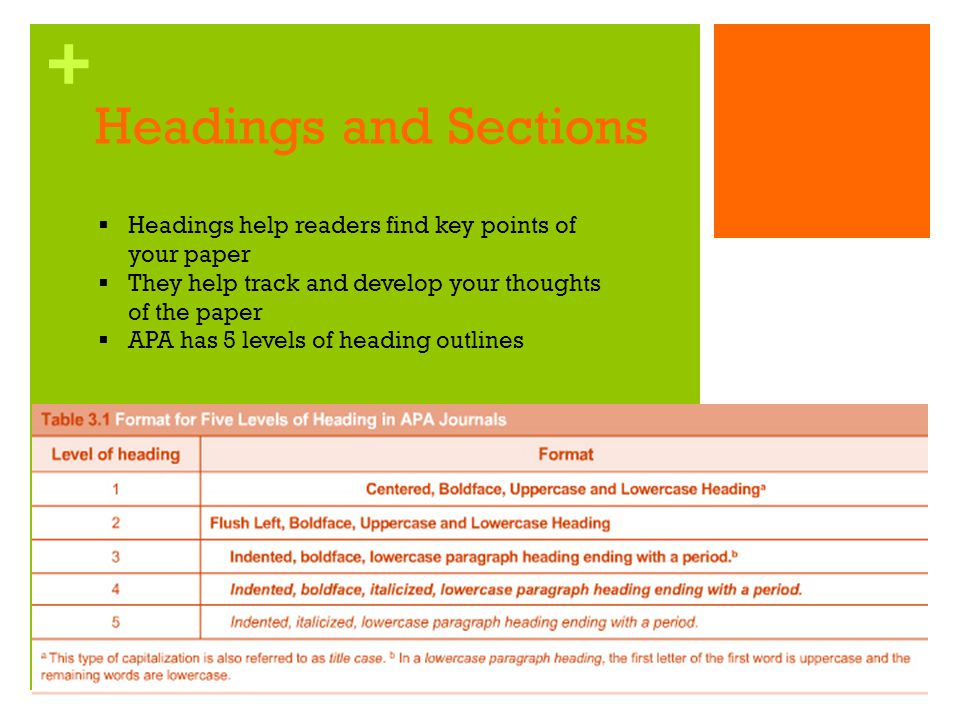 Headings and Sections Headings help readers find key points of your paper. They help track and develop your thoughts of the paper.