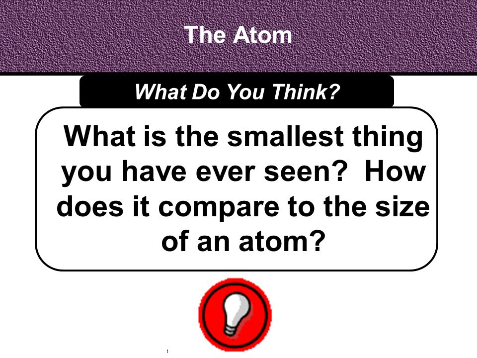 The Atom What Do You Think. What is the smallest thing you have ever seen.