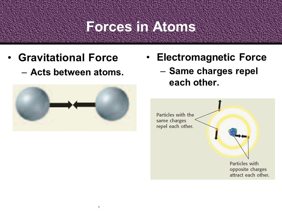 Forces in Atoms Gravitational Force Electromagnetic Force