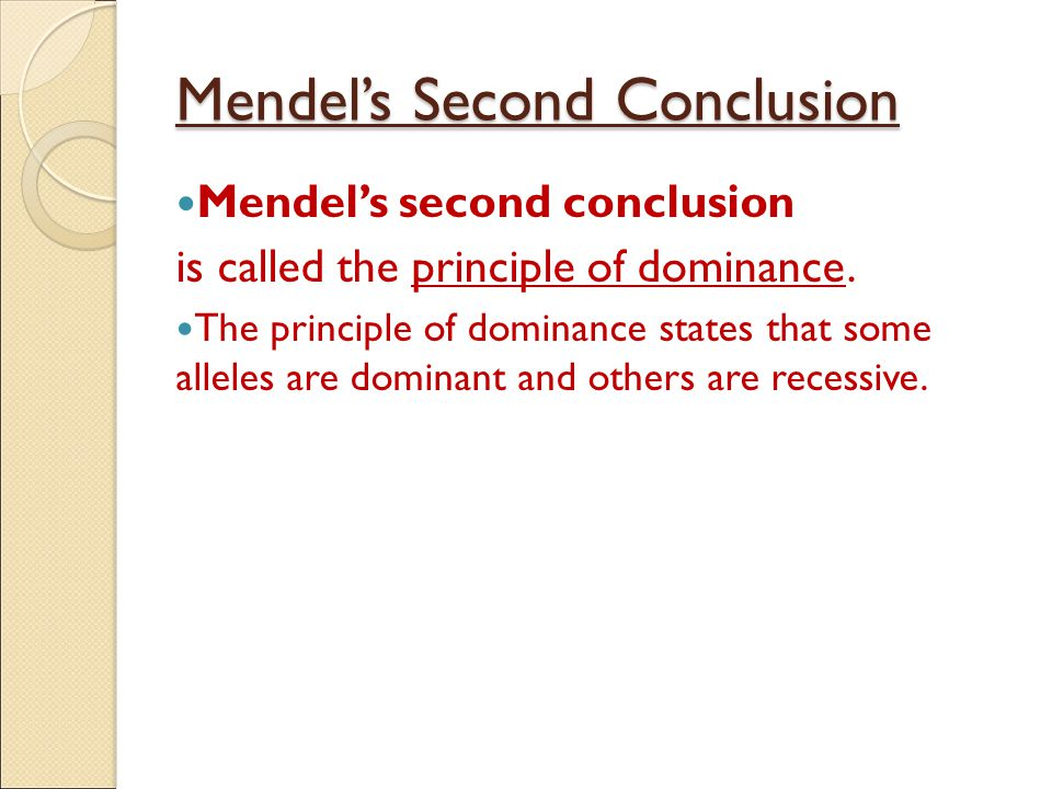 Mendel's Second Conclusion