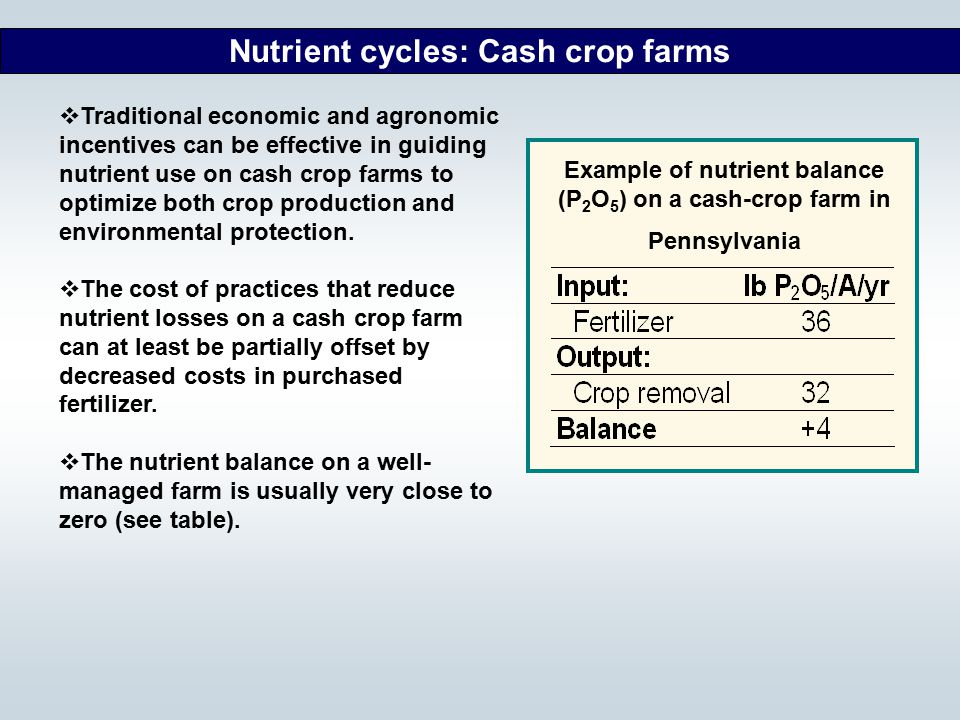 Example of nutrient balance (P2O5) on a cash-crop farm in Pennsylvania