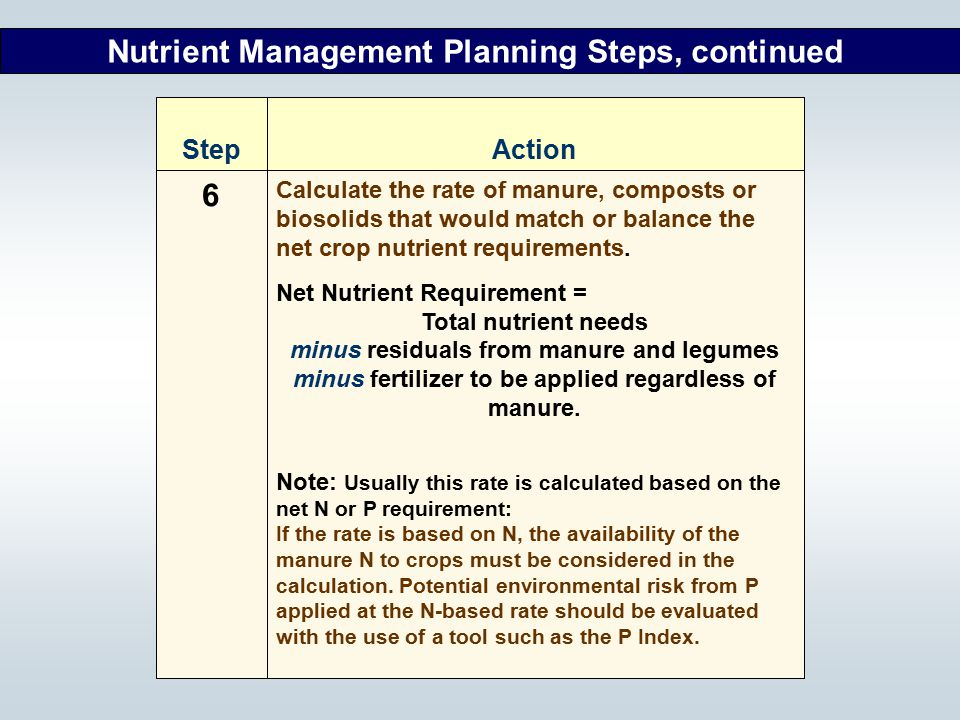 6 Nutrient Management Planning Steps, continued